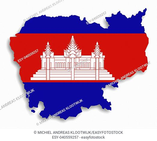 Map of Cambodia filled with flag, isolated