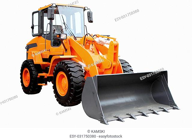 Modern wheel tractor, isolated on white background