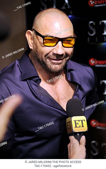 "Actor Dave Bautista arrives at the STXfilms presentation red carpet for CinemaCon's """"The State Of The Industry: Past, Present and Future"""" at The Colosseum at..."