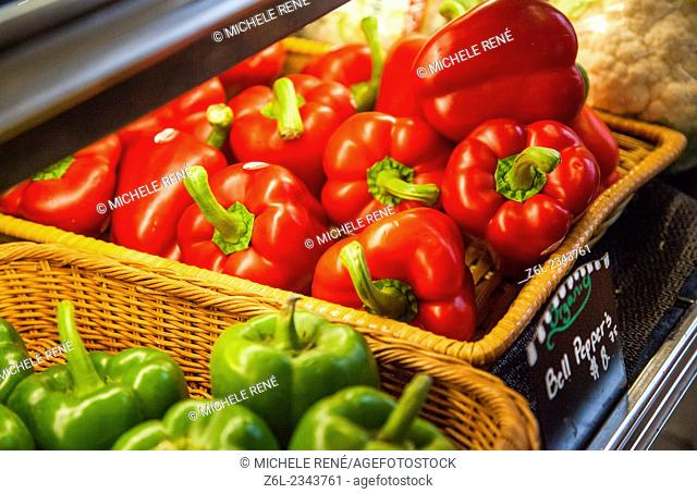 Butcher Shop display of vegetables for sale in Middleburg, town in Virginia, Loudoun County, United States