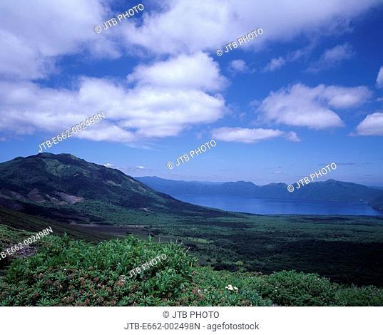 Blue sky Clouds Mountain Green Tarumae-san Photographed Point Lake Shikotsu Hokkaido Japan