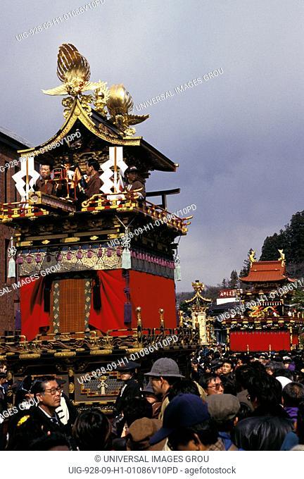 Japan, Takayama. Ornate Floats And Crowd At Festival