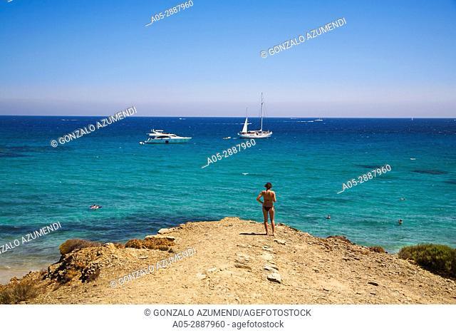 Way to Turtle Beach. Sa Albufera des Grau Natural Park. Minorca. Balearic Islands. Spain