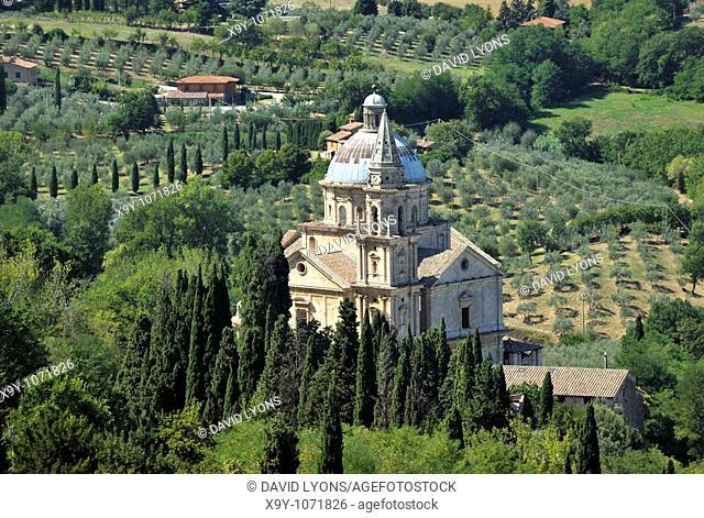 The 16thC Tempio di San Biagio  High Renaissance church by Sangallo  Seen from the walls of Montepulciano, Tuscany, Italy