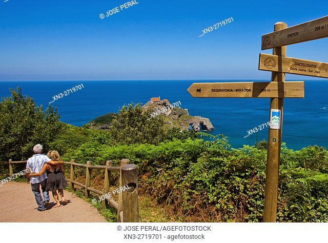 Hermitage San Juan de Gaztelugatxe, Gaztelugatxe islet, coast of Biscay, Cantabrian Sea, Bizkaia, Basque Country, Spain, Europe