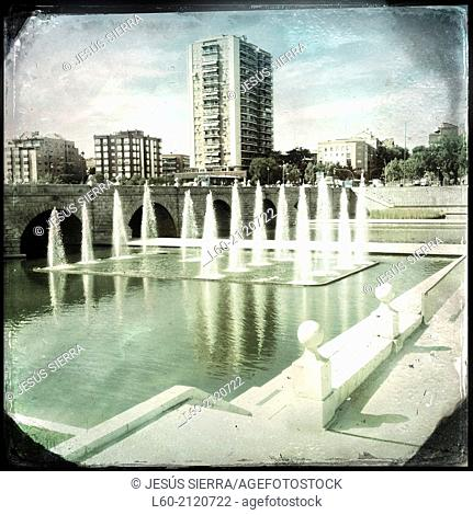 Manzanares River and Madrid Park Fountains near Segovia Bridge. Madrid, Spain