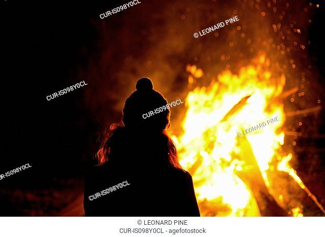 Woman on bonfire night