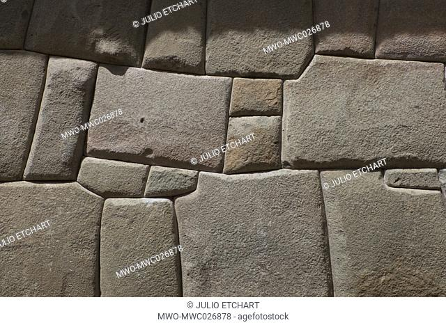 Inca stone wall in the colonial town of Cusco, Peru