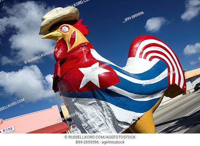 CUBAN FLAG PAINTED ON GIANT CHICKEN SCULPTURE EIGHTH STREET LITTLE HAVANA NEIGHBORHOOD MIAMI FLORIDA