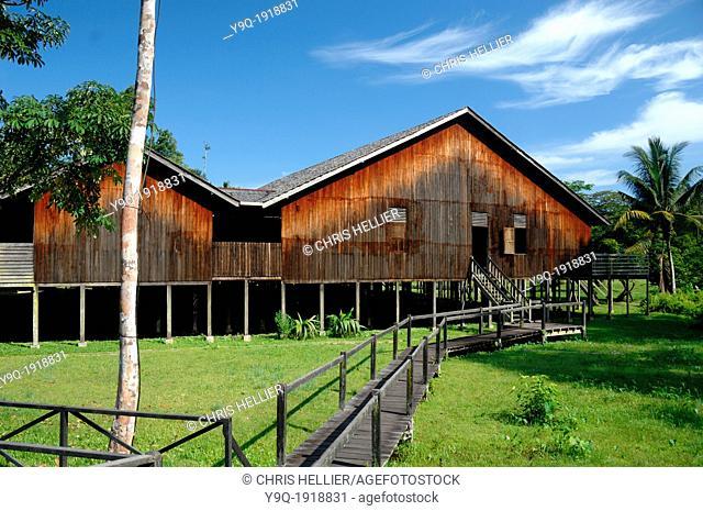 Iban Longhouse at Sarawak Cultural Centre Kuching Sarawak Borneo Malaysia
