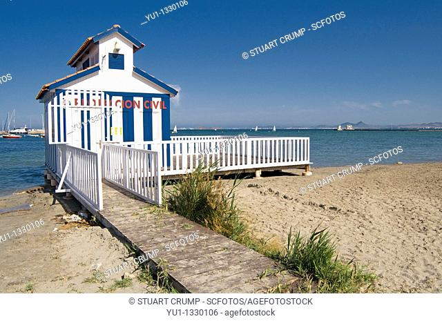 'Proteccion Civil' Beach police Station hut at Los Alcazares in the region of Murcia, South Eastern Spain
