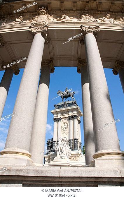 Alfonso XII monument, The Retiro park. Madrid, Spain