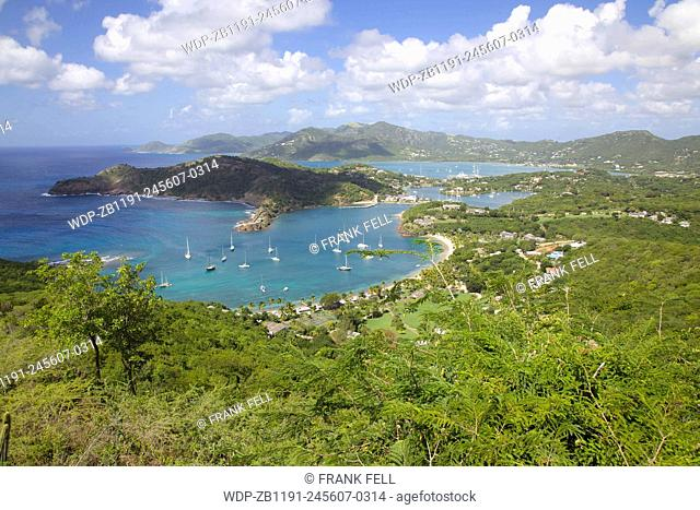 West Indies, Caribbean, Antigua, View of English Harbour from Shirley Heights