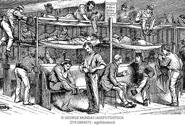 1879: Sleeping arrangements in the Shiloh Shelter set up for homeless men in New York City, United States of America
