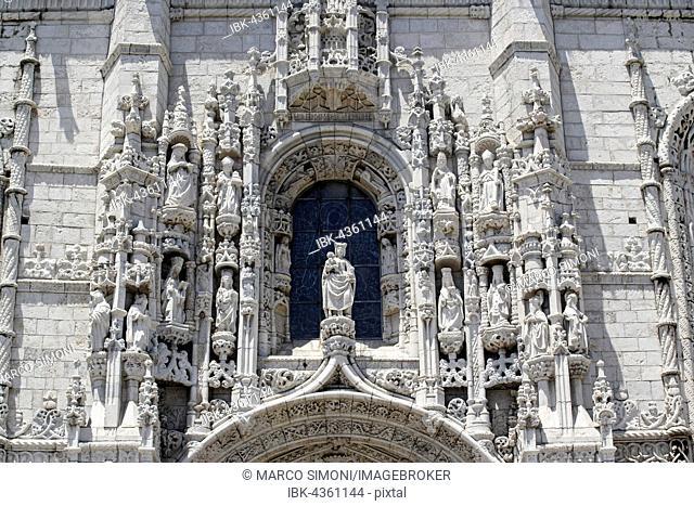 Facade, Detail, Mosteiro dos Jerónimos, Jeronimos Monastery, Belém, Lisbon, Lisbon District, Portugal