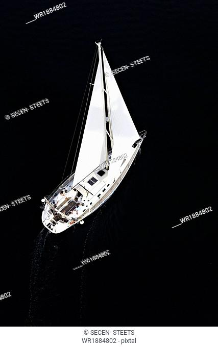 Croatia, Sailboat on the move, aerial view