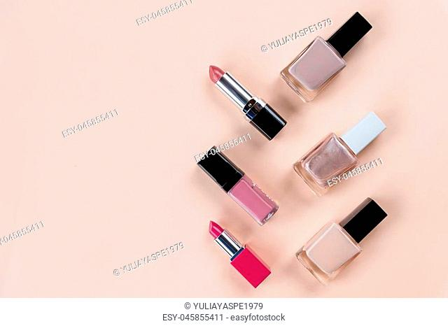 Beauty concept. Set of professional makeup cosmetic on white background