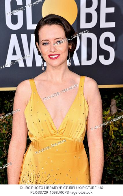 LOS ANGELES, CA. January 06, 2019: Claire Foy at the 2019 Golden Globe Awards at the Beverly Hilton Hotel. © 2019 JRC Photo Library/PictureLux ALL RIGHTS...
