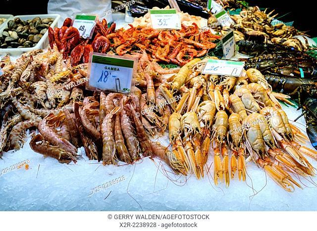 Mixed crustaceans for sale in La Boqueria market, Barcelona, Spain