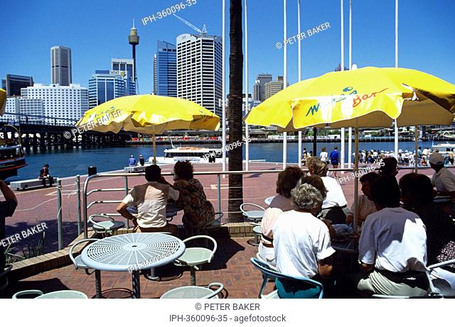 Cafes at Darling Harbour a popular harbourside recreational area in the city of Sydney