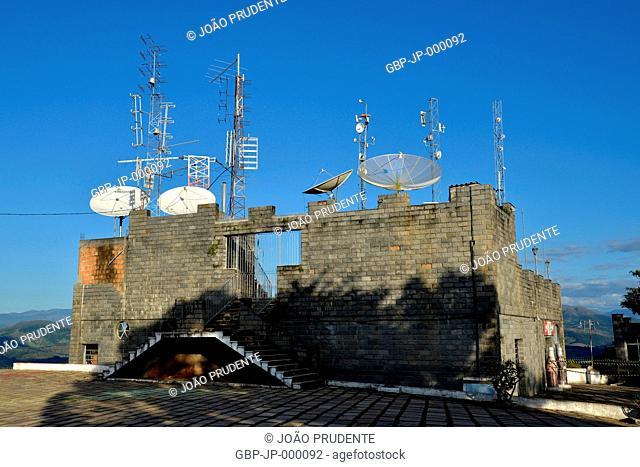 Communication antennas in Morro do Cristo, Caxambu, Minas Gerais, Brazil, 04.2016