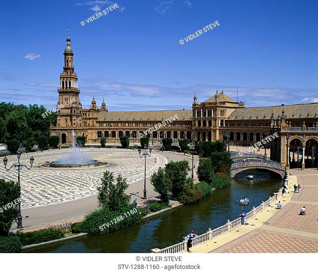Architecture, Building, Espana, Fountain, Holiday, Landmark, Plaza, Scenery, Seville, Spain, Europe, Tourism, Travel, Vacation
