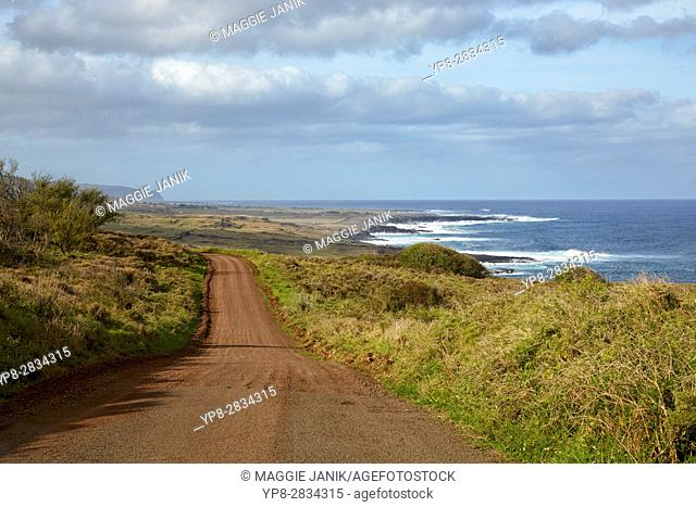 Southern shore road, Easter Island, Chile