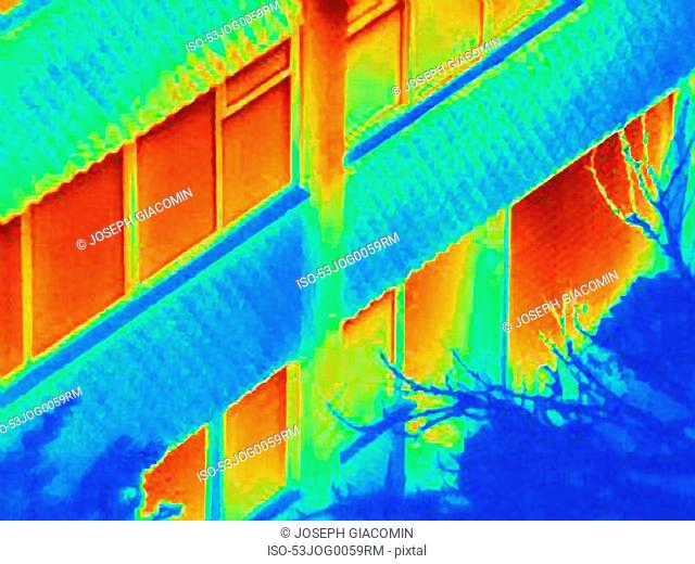 Thermal image of apartment building