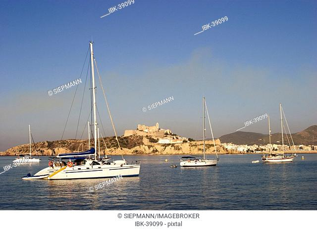 Eivissa with yacht in the morning
