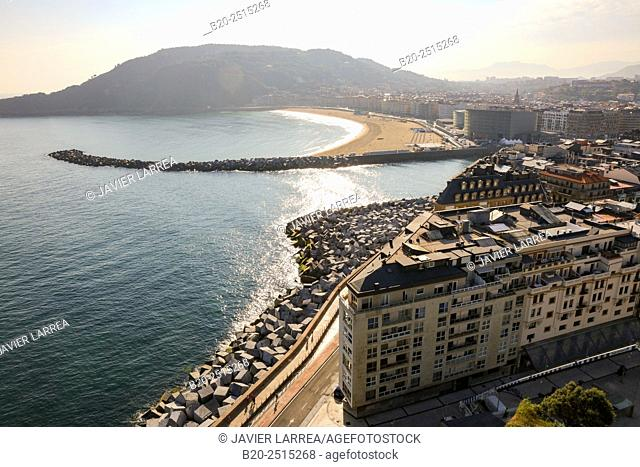 Urumea river mouth. Zurriola beach. Donostia. San Sebastian. Gipuzkoa. Basque Country. Spain