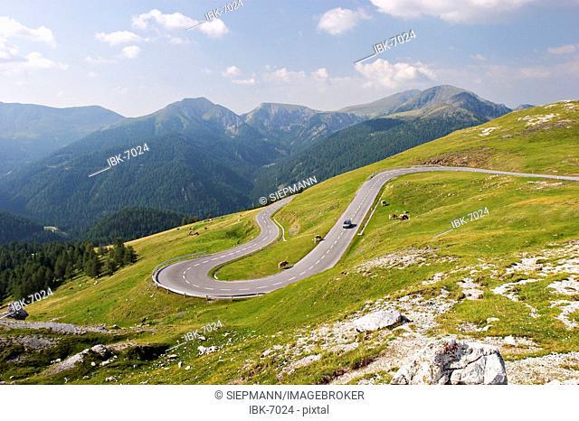 Road Nockalmstrasse in National Park Nockberge - Carinthia - Austria