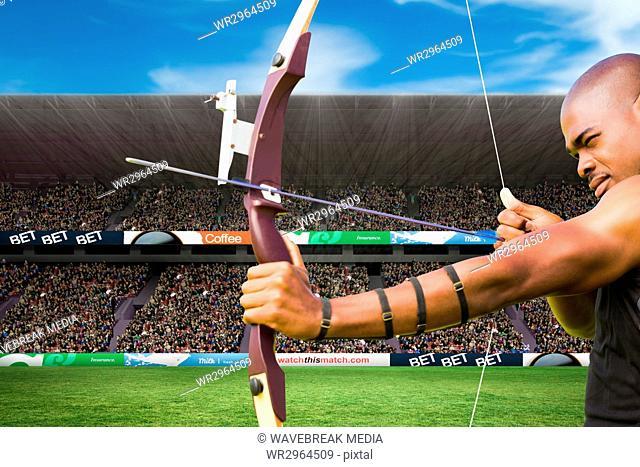 archer is shooting an arrow against stadium background