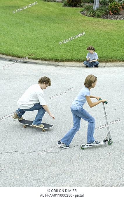 Children playing in suburban street