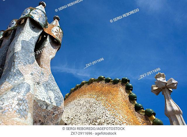 Antoni Gaudi Casa Batllo, UNESCO World Heritage Site, Barcelona, Catalonia, Spain. Sant Jordi (Saint George) is the Patron Saint of Catalonia all is full of...