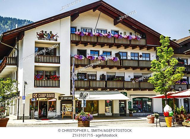 The shopping district in downtown Garmisch-Patenkirchen, Bavaria, Germany
