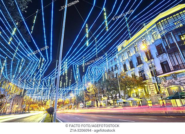 Christmas lights at Alcal‡ street with Cibeles square at the background. Madrid. Spain