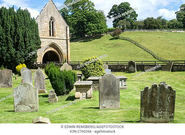 UK, England, Yorkshire, Richmond - A small graveyard at the abbey of St Agatha, more commonly known as Easby Abbey located in the city of Richmond