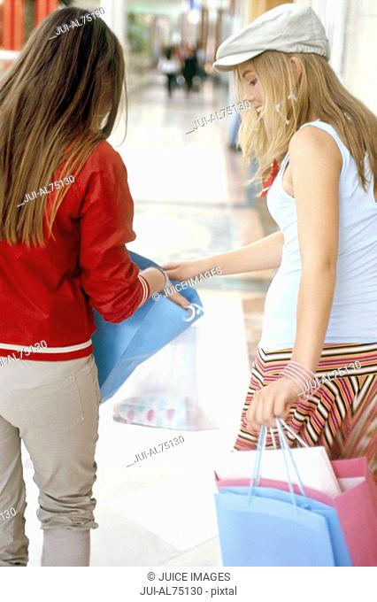 Rear view of teenage girls looking through shopping bag