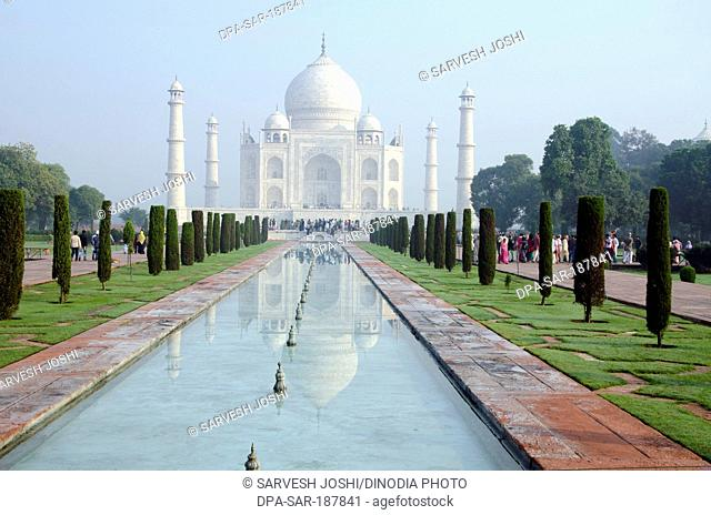 Long view of the Taj Mahal Agra Uttar Pradesh India Asia