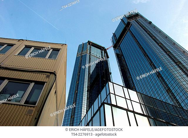 Rear view of the German bank towers in Frankfurt am Main