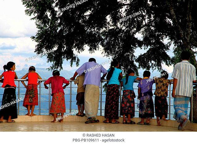 A group of ethnic people at the Nilgiri Hill which is located 47 kilometers Southeast of Bandarban town on Chimbuk range