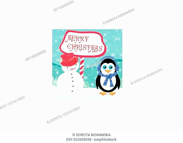 Christmas card with a penguin and snowman