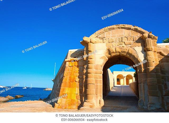 Tabarca Puerta de San Miguel de Tierra fort door arc in Alicante Spain
