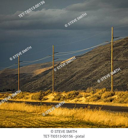 Power lines by hill in Bellevue, Idaho