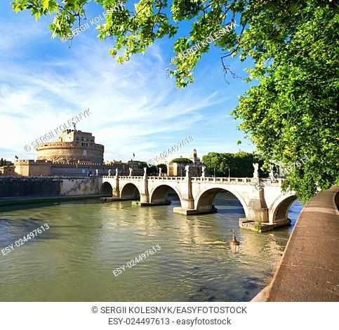 Bridge of Saint Angelo on Tiber in Rome