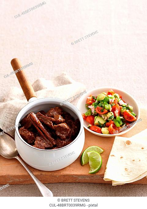 Pot of braised meat with vegetables