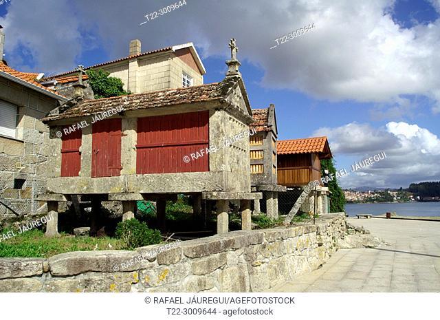 Combarro (Pontevedra) Spain. Galician granaries in the village of Combarro