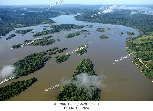 Aerial view, river landscape, small islands in the river Rio Tapajos in the Amazon rain forest, planned dam Sao Luiz do Tapajós, district Itaituba, Pará state