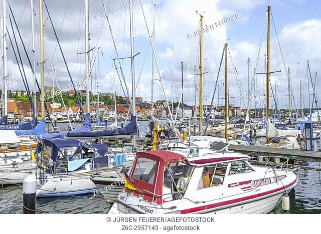 inner port and panorama of the coastal town Flensburg at the Baltic Sea, Germany