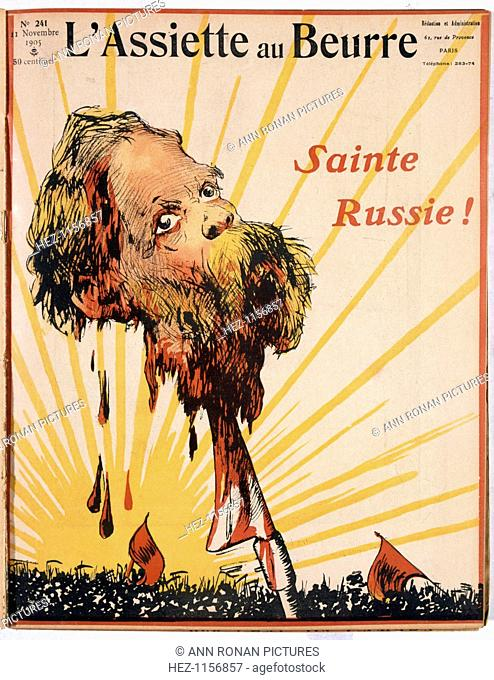 'Blessed Russia!', 1905. Cover from French satirical magazine L'Assiette au Beurre, showing a decapitated head, probably representing Tsar Nicholas II